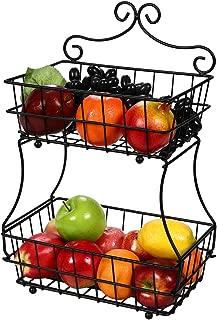 TQVAI Screwless 2 Tier Fruit Bread Basket Display Stand - Upgrade Version
