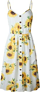 Nuofengkudu Womens Summer Cute Floral Printed Bohemian Spaghetti Strap Button Down Swing Midi Dress with Pockets