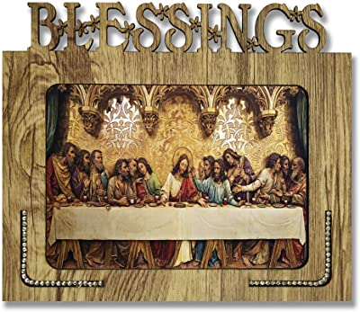 Xpression Decor Decorative Blessings Hand Crafted Wooden Table with Photo of Lord Jesus Size of Photo Frame (9 * 7.75inch, Multicolor, MDF)