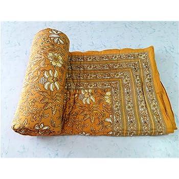 Single Bed 60 x 90 inches Sanganeri, Rajai Couette en Coton imprim/é Indien Fait /à la Main Jaipuri Razai avec garnissage en Coton Blanc Coton Marusthali