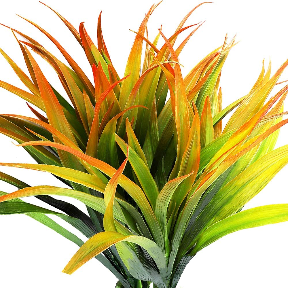 4pcs Artificial Fake Grass Plants Faux Fake Grasses Plastic Plant Greenery (Orange and Green)