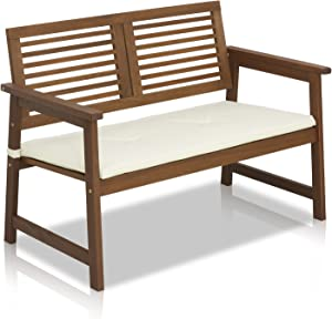 Furinno FG161167 Tioman Hardwood Patio Furniture Outdoor Bench in Teak Oil