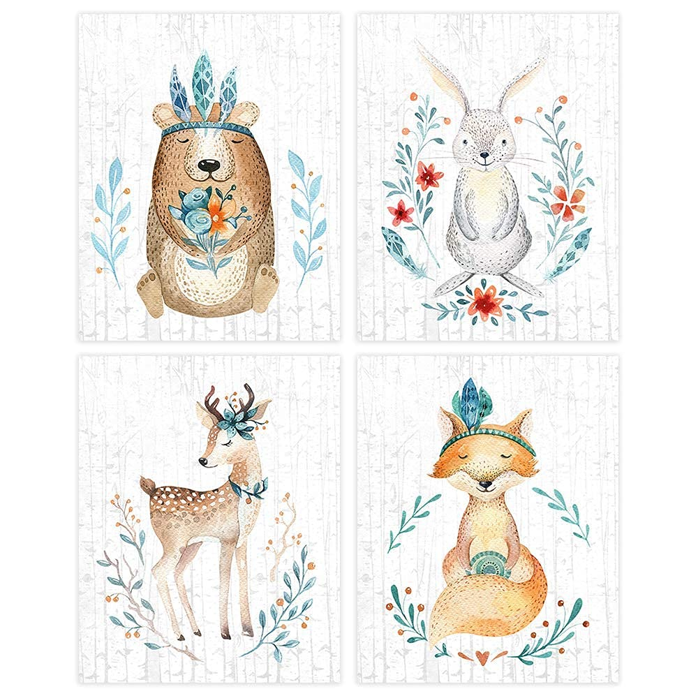 Woodland Animals OFFicial site OFFicial Nursery Wall Art Prints 4 - Set of Unframed