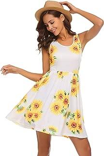 POGTMM Women's Casual Tank Dress Summer Beach Sleeveless Sundress Floral Mini Dress