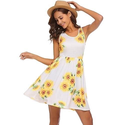 42847a12750 Women s Casual Tank Dress Summer Beach Sleeveless Sundress Floral Mini Dress