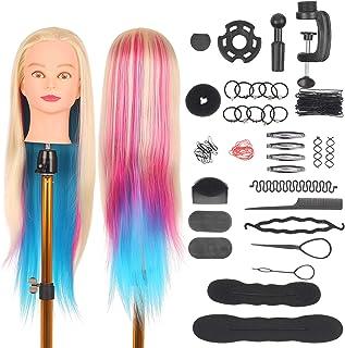 رأس مانيكان بطول 49.5 سم مع مشبك طاولة، أدوات تصفيف الشعر للتدريب على تصفيف الشعر والتدريب، رأس دمية لمصفف الشعر