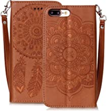 iPhone 8 Plus Wallet Case, iPhone 7 Plus Case, Embossed Premium PU Leather Wallet Flip Cover Card Slots Holder Cases With Wrist Strap For Apple iPhone 7 Plus iPhone 8 Plus [5.5inch] - Brown