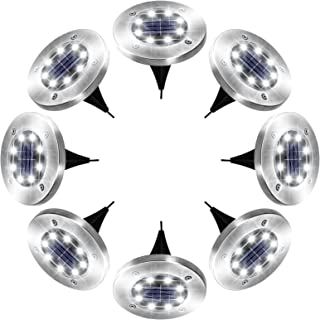 Solar Ground Lights, 8 LED Garden Lights Solar Powered, Disk Lights Waterproof In-Ground Outdoor Solar Landscape Lighting ...