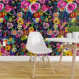 Spoonflower Peel and Stick Removable Wallpaper, Colorful Floral Bright Flower Nursery Decor Watercolor Modern Baby Girl Girls Print, Self-Adhesive Wallpaper 24in x 108in Roll