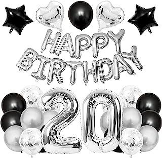GRESATEK 誕生日 バルーン 飾り付け 風船セット 20歳 ハッピー バースデー HAPPY BIRTHDAYガーランド ハート風船 紙吹雪風船 ドットシール 装飾 パーティー お祝い サプライズ シルバー&ブラック