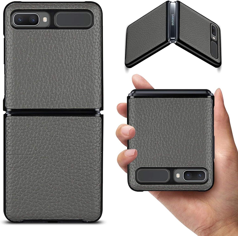 Jaorty Galaxy Z Flip/Z Flip 5G Case,Ultra Slim Thin Litche Partten Premium Genuine Leather Shook-Proof Bumper Protective Cover Case for Samsung Galaxy Z Flip (2020),Gray