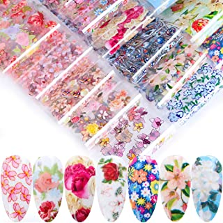 Macute Flowers Nail Transfer Foils Fresh Nails Supply Foil Decals 16 Designs Floral Nail Transfers Starry Sky Paper for Women Fingernails and Toenails Acrylic Decorations Manicure Tips Wraps Charms
