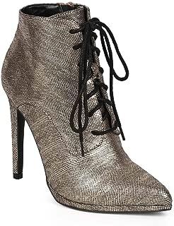 Women Metallic Snakeskin Pointy Toe Lace Up Stiletto Ankle Bootie DJ36 - Champagne Metallic