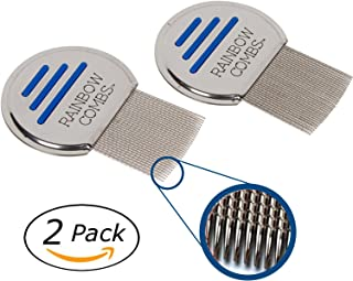 (2 Pack) Rainbow Combs- Stainless Steel Style Fine Tooth Lice Comb, Effective