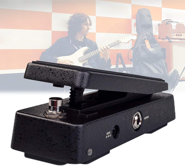 Pedal Wah con Indicador LED, Pedal Guitarra EléCtrica Perilla 6 Velocidades Varias Bandas Efectos, Efectos Guitarra con BotóN Ajuste Volumen FáCil Usar,Negro
