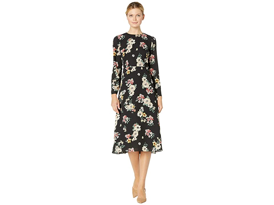 Vince Camuto Long Sleeve Floral Story Dress (Rich Black) Women