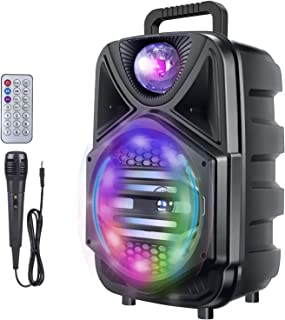 $43 » 8 Inch Portable Karaoke Machine, Rechargeable Bluetooth Singing PA Speaker System with Wired Microphone and Disco Lights f...