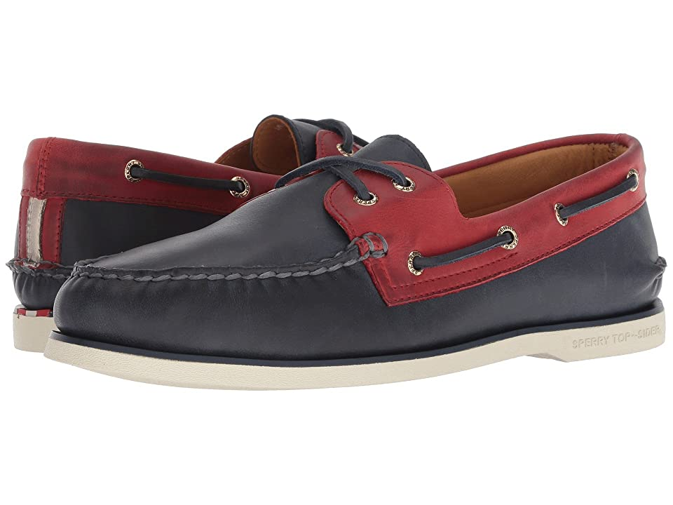 Sperry Gold A/O 2-Eye Chevre (Navy/Red) Men