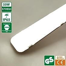 45W 4500LM Plafoniera da Officina,IP65 Impermeabile LED Luminaire Officina Luce per Garage Ufficio Supermercato Cantina Reparto Bagno Cucina LED Tubo Luce 6000K,Bianco freddo Plafoniere LED 150CM