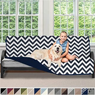 Sofa Shield Original Patent Pending Reversible Futon Slipcover, 2 Inch Strap Hook, Seat Width Up to 70 Inch Washable Furniture Protector, Futons Slip Cover Throw for Pets, Futon, Chevron Navy White