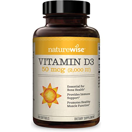 NatureWise Vitamin D3 2000iu (50 mcg) 1 Year Supply for Healthy Muscle Function, Bone Health, and Immune Support, Non-GMO, Gluten Free in Cold-Pressed Olive Oil, Packaging May Vary (360 Mini Softgels)