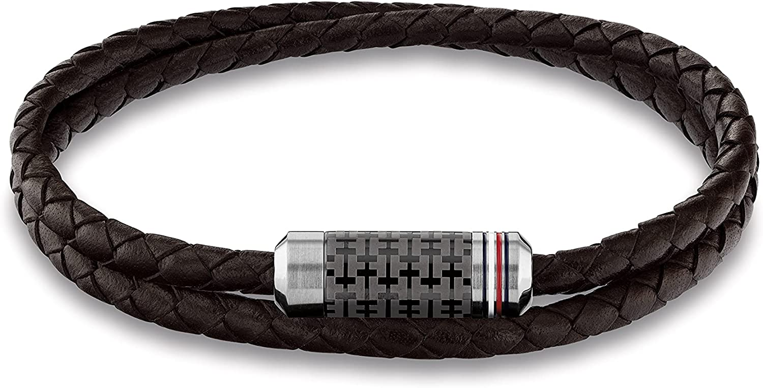 Tommy Hilfiger Men's Jewelry In stock Tube Year-end gift Leather Wrap Braided Double Br