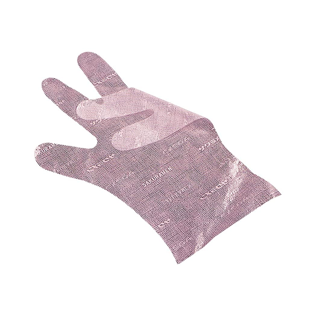辛な谷クラッチサクラメンエンボス手袋 デラックス ピンク L 100枚入