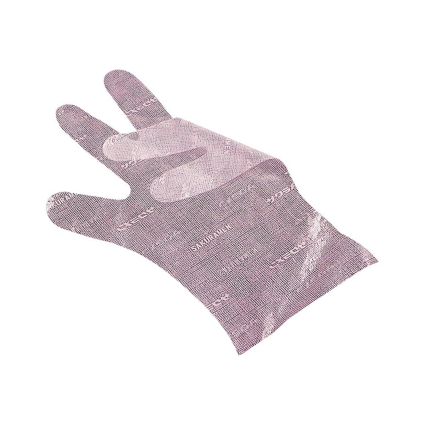 喜ぶ粘液天皇サクラメンエンボス手袋 デラックス ピンク L 100枚入