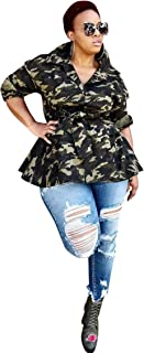 Womens Sexy Lapel Long Sleeve Camo Print Back Sequins Paneled Button Casual Coat Windbreaker Outwear