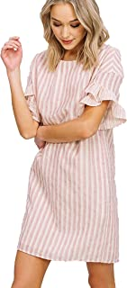 Listicle Fully Lined Stripe Ruffle Shift Dress Pink White Boho Baby Doll Work Play