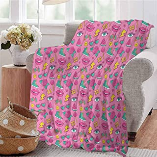 SSKJTC Boys Throw Blanket Retro Style Comic Book Icons Collection on Pink Backdrop Girlish Pop Art Pink Sea Green Yellow Bedroom Dorm Sofa Baby Cot Beach W40 xL60