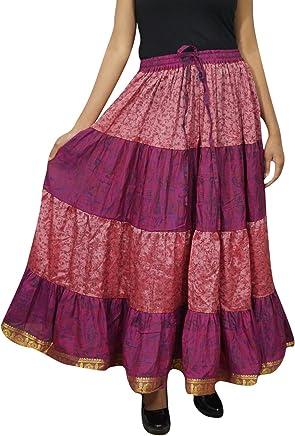 Womens Maxi Skirt Peach Silk Sari Long Swing Belly Dance Tiered Skirts L