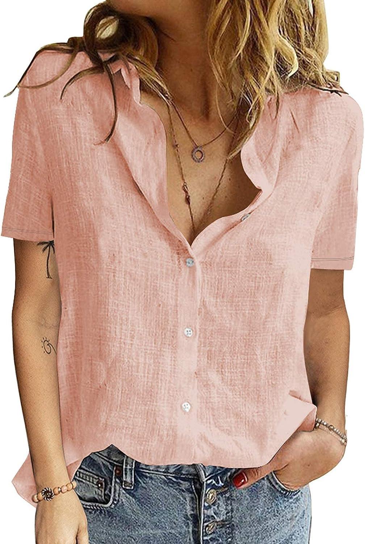ZOMIHOYANG Button Down Shirts Short Sleeve V Neck Linen Cotton Blouse Basic Simple Work Shirt Plain Tops