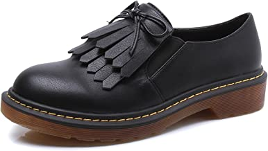 Smilun Lady¡¯s Western Low Heel Shoes Classic Tassel Flats Round Toe