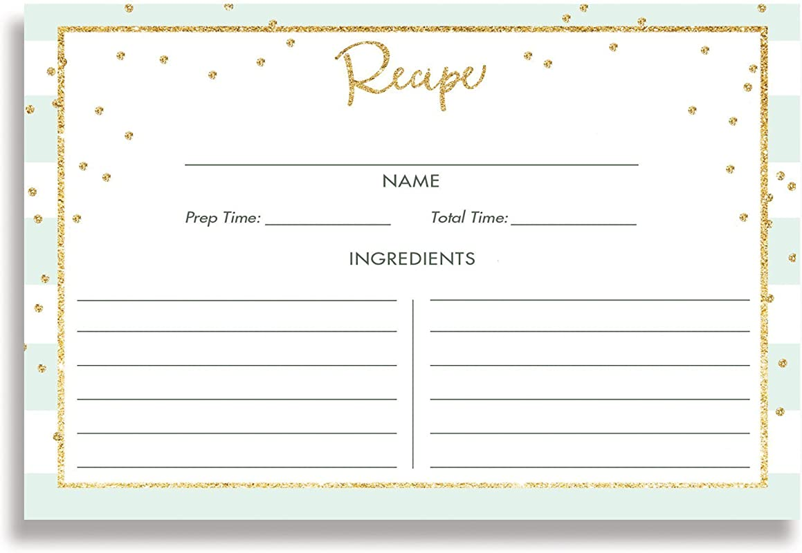 Striped Recipe Cards Set Of 15 4x6 Inches Double Sided Mint White Thick Card Stock Gold Glitter Look Recipe Cards Blake