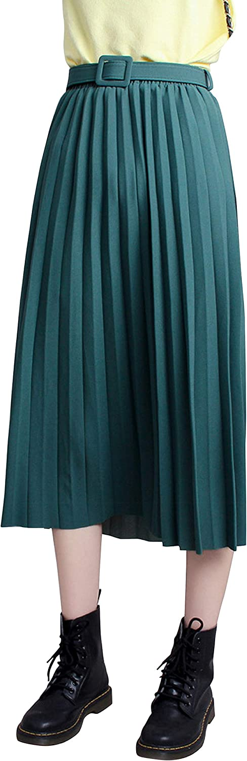 CHARTOU Women's Elastic Waist Belted Accordion Solid A Line Midi Long Skirt