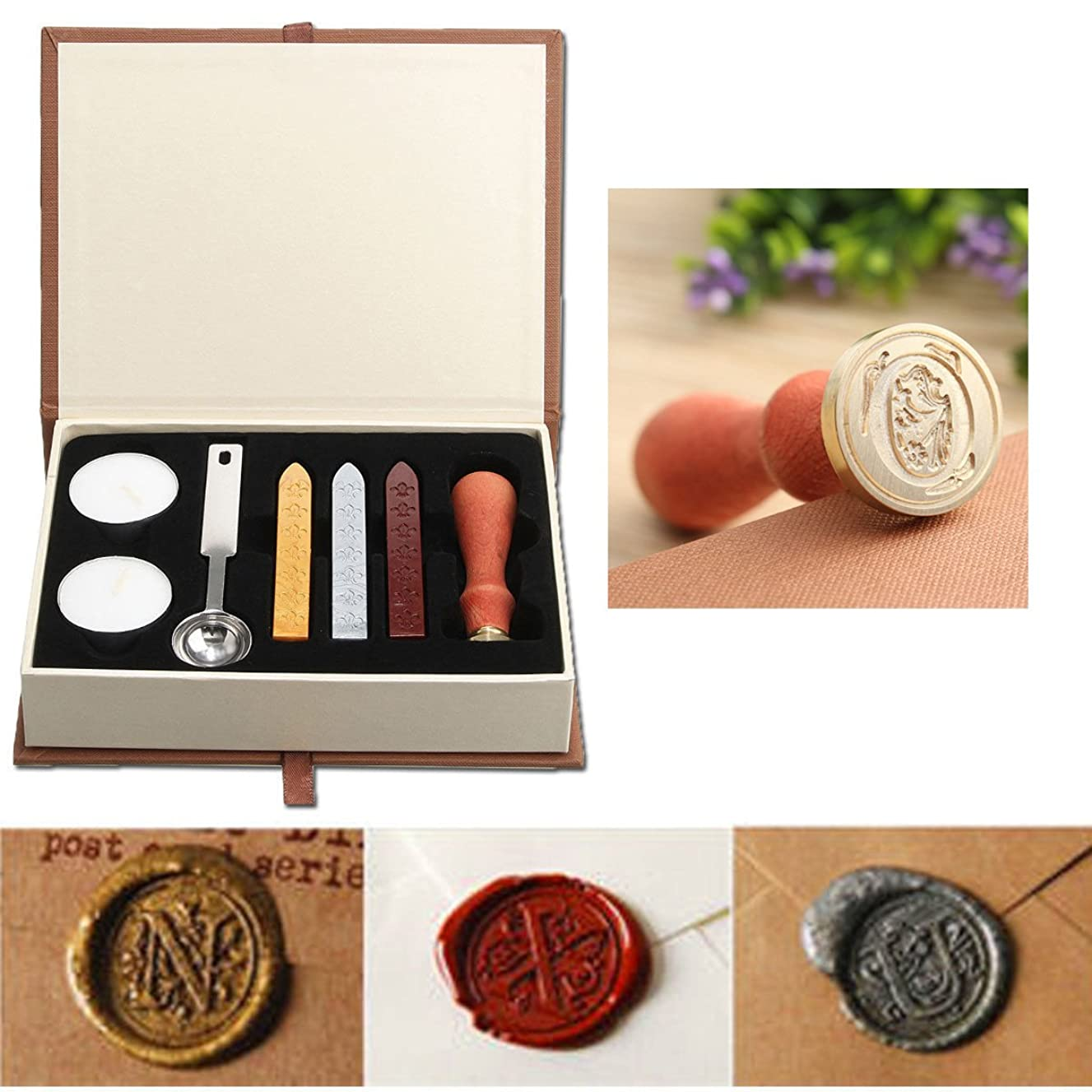 Seal Wax Kit,PUQU Vintage Initial Letters A-Z Alphabet Wax Badge Seal Stamp Kit Wax Set Tool Gift(O)