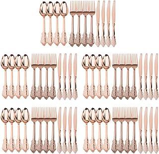 Baoblaze Cuberterías Combinadas de Cucharas,Cuchillos de Bistec, Tenedores para Carne, Suministros para Boda - Oro rosa, 90 Piezas