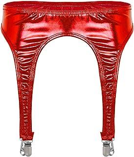 inlzdz - Liguero metálico brillante para mujer con pinzas de metal para medias altas del muslo