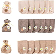 PandaHall 24 bolsas de algodón de 3 colores de flores decorativas bolsas pequeñas con cordón para bodas, bautizos, fiestas, confeti, 14,5 x 11 cm