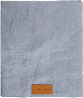 Pure Linen Ring Sling in Blue Gray with Silver Rings by Leather Baby Co