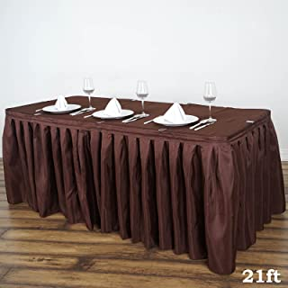 BalsaCircle 21 feet x 29-Inch Chocolate Brown Polyester Banquet Table Skirt Linens Wedding Party Events Decorations Kitchen Dining