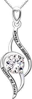 Always My Daughter Forever My Friend ALOV Jewelry Silver Cubic Zirconia Love Pendant Necklace