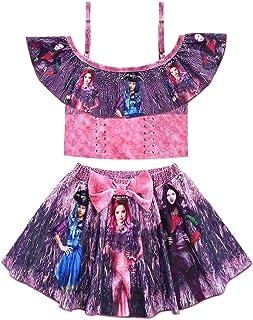 N-A Descendants Bathing Suit Bikini Sets for Girls Princess 2 Pieces Ruffle Swimsuits Cartoon Printed Swimwear