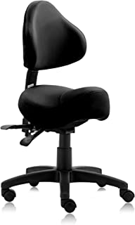 DR.LOMILOMI Hydraulic Saddle Rolling Clinic Spa Massage Stool Chair with Back Rest (510-With Backrest, Black)