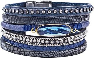 Multi-Layer Leather Bracelet-Leather Wrap Bracelet Boho Cuff Bangle Crystal Bead Bracelet Rhinestone Handmade Magnetic Clasp Bracelet for Women Girls