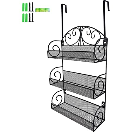 Giftgarden 3 Tier Over The Door Spice Rack, Wall Mount Hanging Spice Organizer for Cabinet Pantry Kitchen, Black