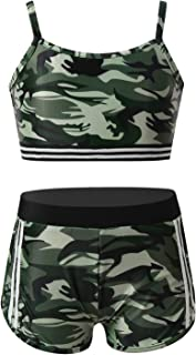 Loodgao Kids Girls Dance Crop Tops with Booty Shorts Gym Yoga Sports Outfits Camouflage Clothes Set Letter Dancing Outfits