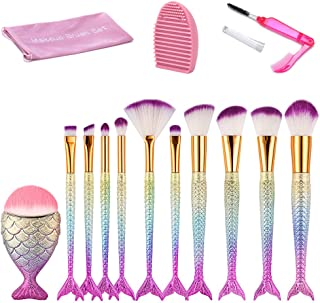 Mermaid Makeup Brushes Set, Beauty Star 11pcs Mermaid Makeup Brush Set Chubby Fish Soft Nylon Bristles Beauty Brushes Kit ...