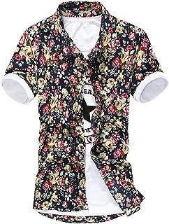 EASY Mens Summer Flower Pattern Button-down Slim fit Shirt